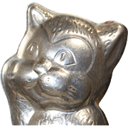 Darling Vintage c1940s Belgian Tin Chocolate Mold of a Cat!