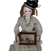 Antique c1910s Lovely Doll Sized Pin Tray w Image Under Glass!  Fred Thompson Wallace Nutting