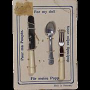 """Antique c1900s Doll """"Pour Ma Poupee"""" German Flatware on Orig Card"""