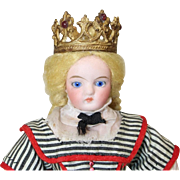 Antique Small Doll Sized Cast Metal Crown w Jewels!