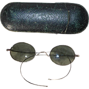 Antique c1910s French Small Wire Sunglasses in Original Leather Case! Spectacles