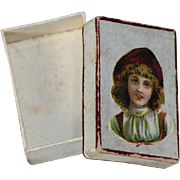 Sweet Little Antique French Fashion Doll Size Box w Lovely Image!