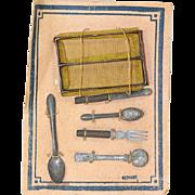 Antique German Doll Utensil Kitchen Set with Basket on the Original Card!