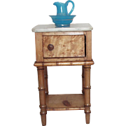Antique French Fashion Doll Faux Bamboo Nightstand w Marble Top!