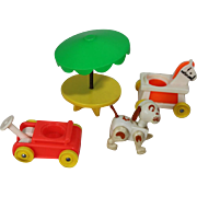 Vintage 1970s Fisher Price Toys Go-Kart, Horse Car, Dog, Picnic Table for Little People
