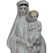 Antique French Bisque Virgin Mary c Baby Jesus Statue Figurine!