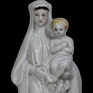 Antique French Bisque Virgin Mary c Baby Jesus Statue Figurine!