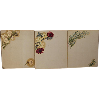 Unique Antique Victorian Hand Painted Cabinet Card Photo Mats - Oil Painted Flowers - Possible Samples