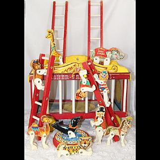 Vintage 1961 Fisher Price Wooden Circus Wagon Train w Animals!