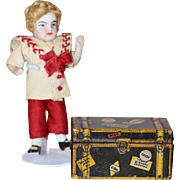 Fabulous Tin Litho MARX Steamer Trunk w Labels - All Bisque Doll Size!