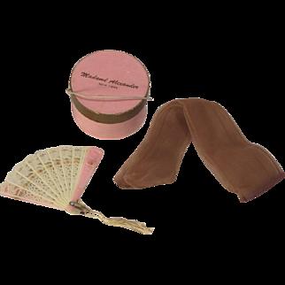 Vintage Madame Alexander Pink Hat Box w Hose Fan Inside! Doll Hatbox!