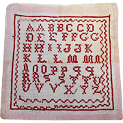 "Antique French Child's ABC Red White School Sampler ""Abecedaire""!"