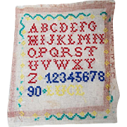 "Vintage French Child's ABC School Cross Stitch Sampler ""Abecedaire""!"