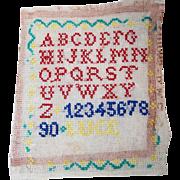 "Vintage French Child's ABC School Cross Stitch Sampler ""Abecedaire""!"