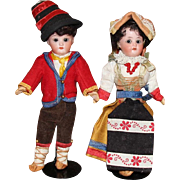Antique German Bisque Boy and Girl Pair with Glass Eyes, Orig Costumes!