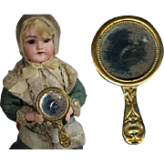 Antique Small Gold Metal Hand Mirror - Great Size for Bisque Doll!
