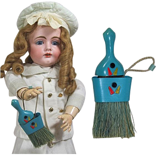 Darling Vintage 1930s Doll Sized Broom w Great Decoration!  Perfect for Dolly's Kitchen!