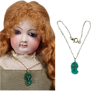 Lovely Antique Green Glass Cameo Doll Necklace for French Fashion!
