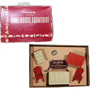 Vintage c1940s Strombecker Dollhouse Doll Kitchen Furniture in Orig Box!  Excellent!