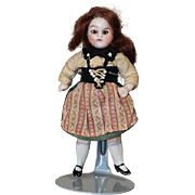 Antique German All Bisque Dollhouse Doll - Glass Eyes, Orig Factory Clothes