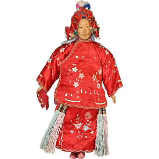 Lovely! Antique c1910 Door Of Hope Chinese Bride Mission Doll! Carved Wood!