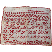 """Antique French Child's ABC Red White School Sampler """"Abecedaire""""!"""