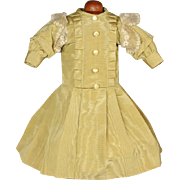 Vintage Bisque Doll Gold Dress - Very Lovely!