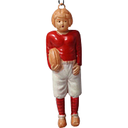 Vintage c1940s Japan Celluloid Football Player Christmas Ornament Doll!