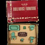 Vintage c1930s Strombecker Dollhouse Doll Bathroom Furniture Set in Orig Box!