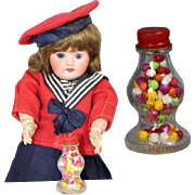 Darling Vintage Doll Sized Glass Candy Container Jar!