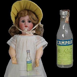 Vintage Mini Doll Sized Glass Liquor Bottle! Salesman Sample