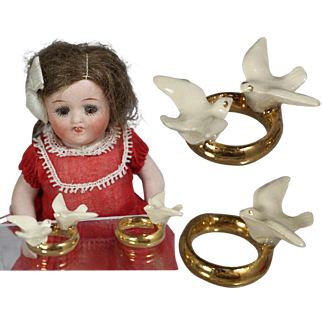 Antique German Hertwig Bisque Mini Doll Sized Ring Wedding Cake Toppers