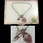 Vintage 1950s Premier Doll Necklace Heart Lock & Key w Rhinestones in Orig Box!