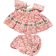 Vintage 1950s Vogue Ginny Doll Tagged Pink White Dress & Panties - Medford Tag