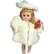 1950s Vogue Ginny Doll Tagged White Coat and Hat - Medford Tag