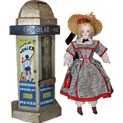 Vintage French Doll Sized Kiosk Advertising Candy Bank - Chocolat Menier!
