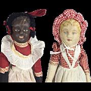 Antique 1901 Bruckner Topsy Turvy Cloth Doll - Babyland Rag Series w Original Tag!
