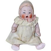 Antique German Bisque Dollhouse Doll Crying Baby w Factory Clothes