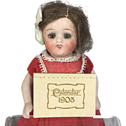 Antique 1908 Mini Doll Sized Calendar for All Bisque Doll or Dollhouse!