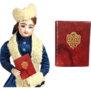 Antique 1920 Little Red Leather Doll Size Tiny Mini Book!