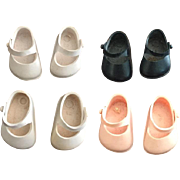 4 Pairs Vintage Vogue Ginny Doll Shoes - All Marked, Two Pairs Flat Heels!
