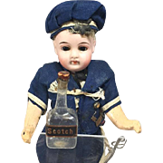 Antique German Blown Glass Doll Sized Scotch Alcohol Bottle! Perfect for Sailor and Soldier Dolls!
