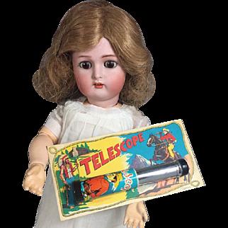 Vintage Tin Litho Mini Doll Sized Toy Telescope on Orig Card!  JAPAN