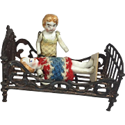 Antique French Simon & Rivollet Doll Dollhouse Bed Penny Toy