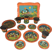 1930s Ohio Art Mickey Mouse Helpmates Tin Litho Tea Set!