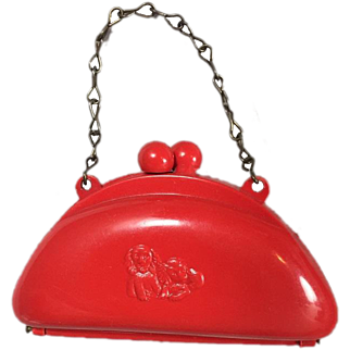 Darling 1950s Red Doll Purse w Cocker Spaniel Dogs on Front!