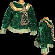 Vintage Bisque Bebe Doll Green Velvet Top Bodice!