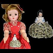 Mini Antique German Dresser Half Doll Pin Cushion - Perfect Doll Size!