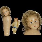 Antique German Miniature Christmas Wax Baby Jesus Tiny Dolls