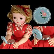 Vintage Debutante Rouge Mini Enamel Compact - Perfect Doll Size!